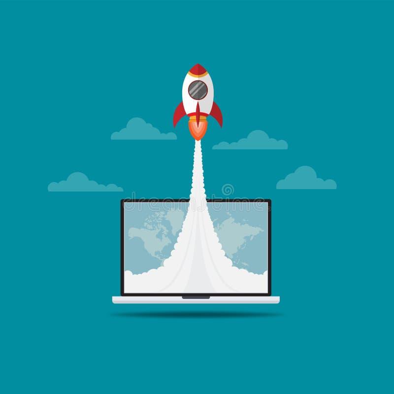 Vol de Rocket hors d'écran d'ordinateur portable illustration libre de droits