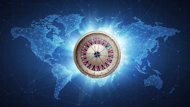 Vol de roulette de casino sur le fond de carte du monde illustration stock