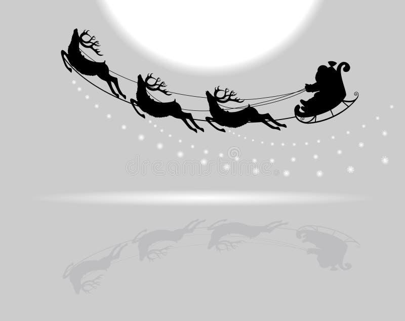 Vol de Santa Claus avec des cerfs communs illustration libre de droits