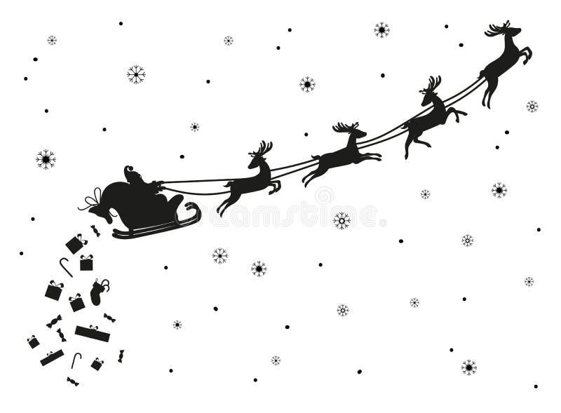 Vol de Santa Claus avec des cerfs communs Silhouette illustration stock