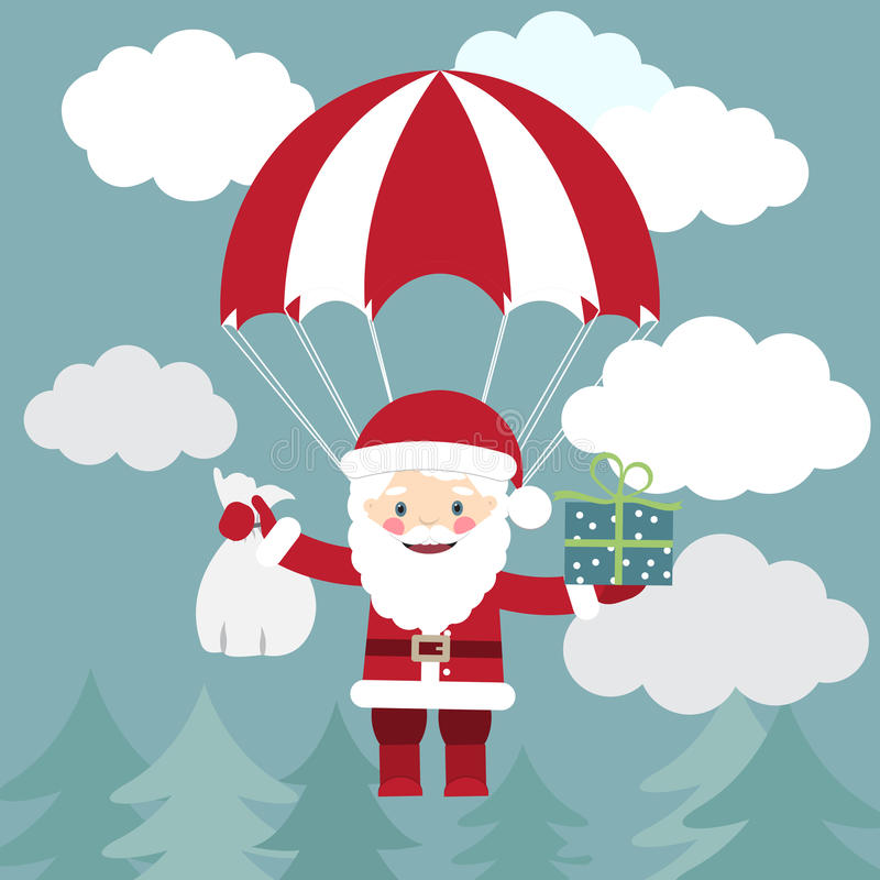 Vol de Santa Claus avec un parachute avec des présents dans le ciel Le VE illustration libre de droits
