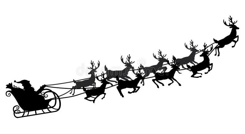 Vol de Santa dans un traîneau avec le renne Illustration de vecteur Objet d'isolement Silhouette noire Noël illustration de vecteur