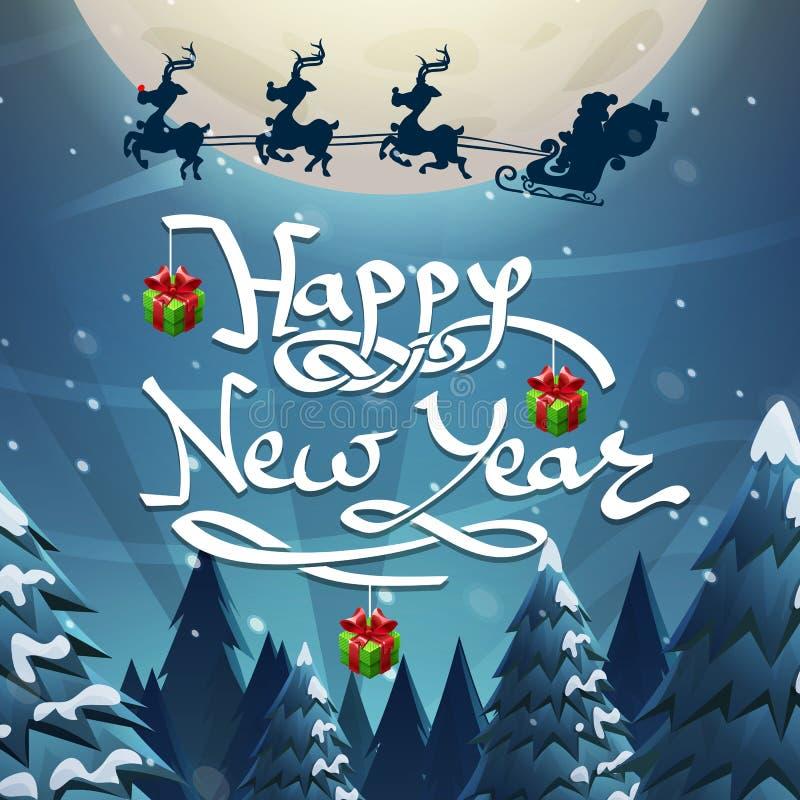 Vol de Santa dans un traîneau avec le renne sur un fond de lune Joyeux Noël et bonne année illustration stock