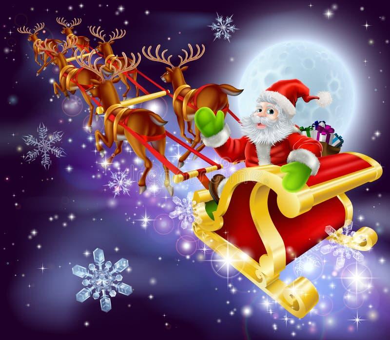 Vol de Santa de Noël dans son traîneau ou traîneau illustration de vecteur