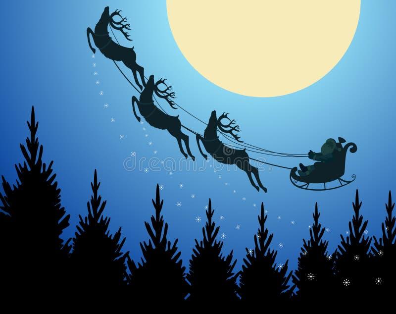 Vol de Santa et de renne par une nuit de Noël illustration stock