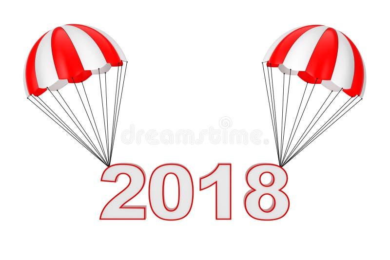 Vol de signe de la bonne année 2018 sur le parachute rendu 3d illustration de vecteur