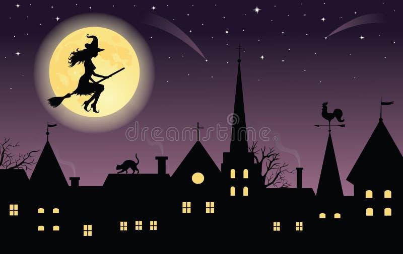 Vol de sorcière au-dessus d'une ville. illustration stock