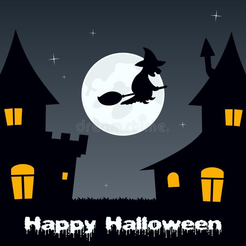 Vol de sorcière de Halloween et Chambres hantées illustration stock