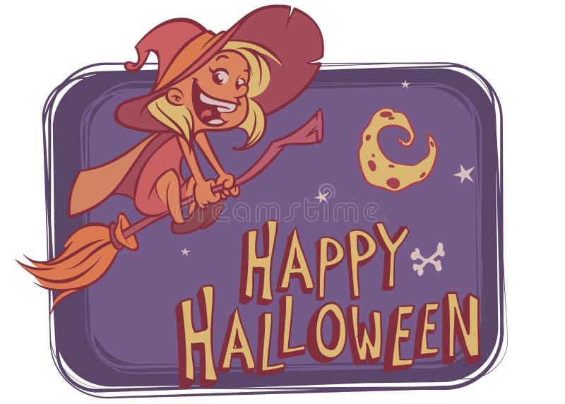 Vol de sorcière sur son balai sur le fond d'enfoncement avec la lune drôle Dirigez l'illustration pour l'affiche de Halloween ou  illustration libre de droits