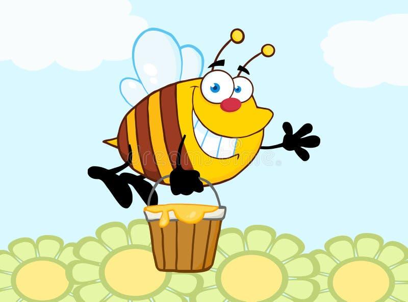 Vol d'abeille avec un seau de miel et ondulation pour saluer au-dessus des fleurs illustration de vecteur