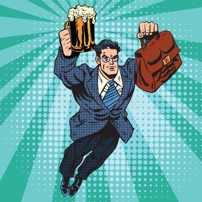 Vol de super héros d'homme de bière illustration libre de droits