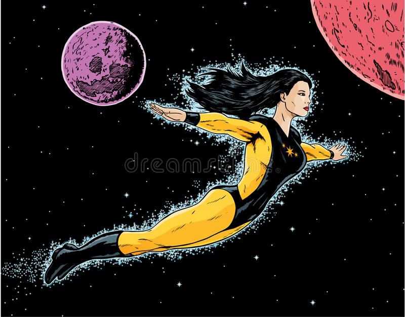 Vol de Superheroine illustration de vecteur