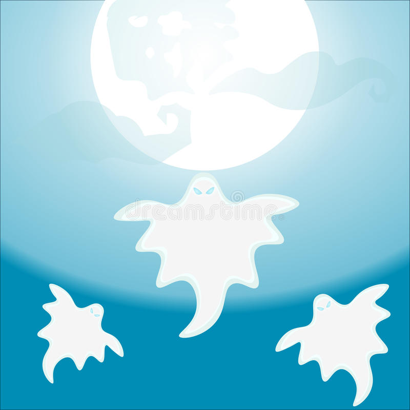 Vol de trois Ghost sous une illustration de vecteur de pleine lune, illustration libre de droits
