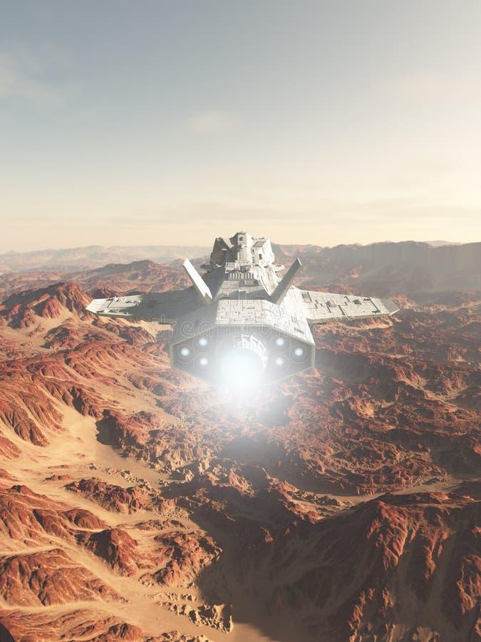 Vol de vaisseau spatial au-dessus d'une planète rouge de désert illustration de vecteur