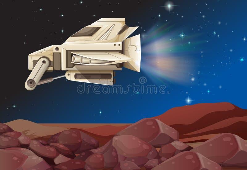 Vol de vaisseau spatial au-dessus de la planète illustration de vecteur