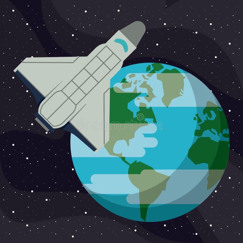 Vol de vaisseau spatial autour de la terre illustration libre de droits
