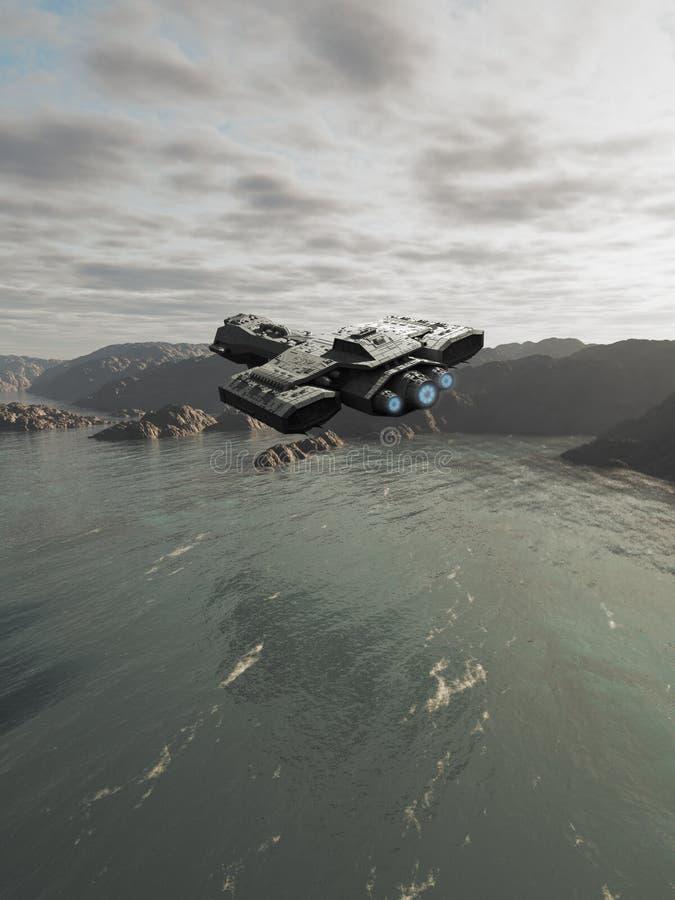 Vol de vaisseau spatial d'océan illustration stock