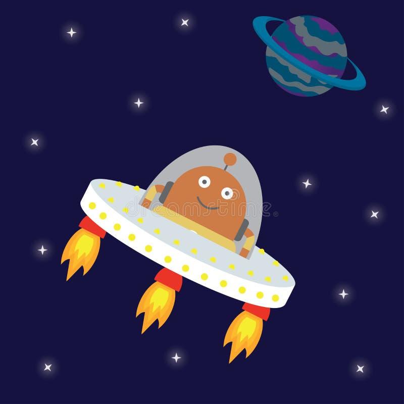 Vol de vaisseau spatial d'UFO dans l'espace illustration de vecteur