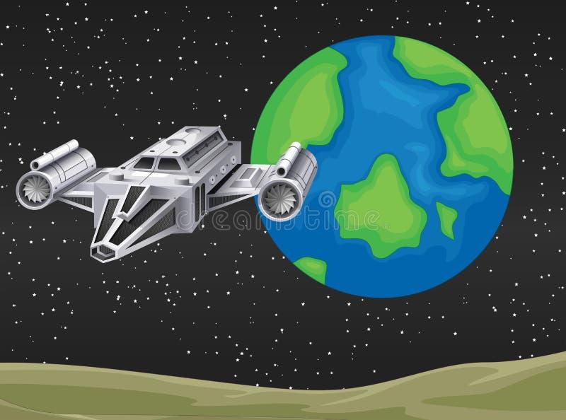Vol de vaisseau spatial dans l'espace illustration libre de droits