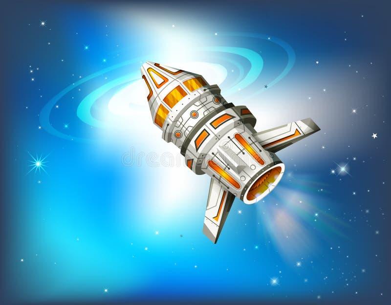 Vol de vaisseau spatial dans la galaxie illustration de vecteur