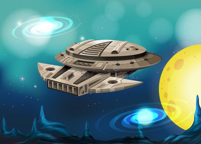 Vol de vaisseau spatial en univers illustration libre de droits