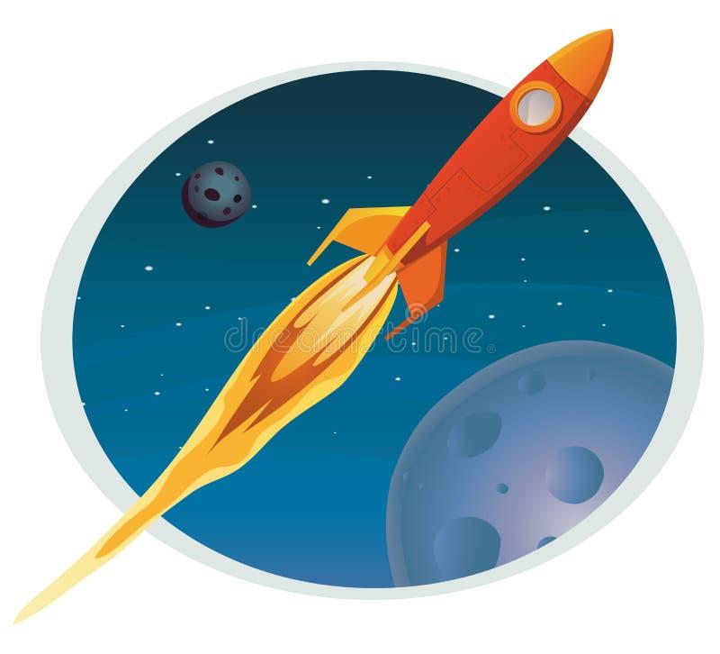 Vol de vaisseau spatial par le drapeau de l'espace illustration stock