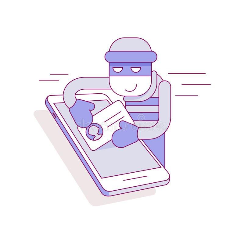 Vol des données personnelles du téléphone illustration stock