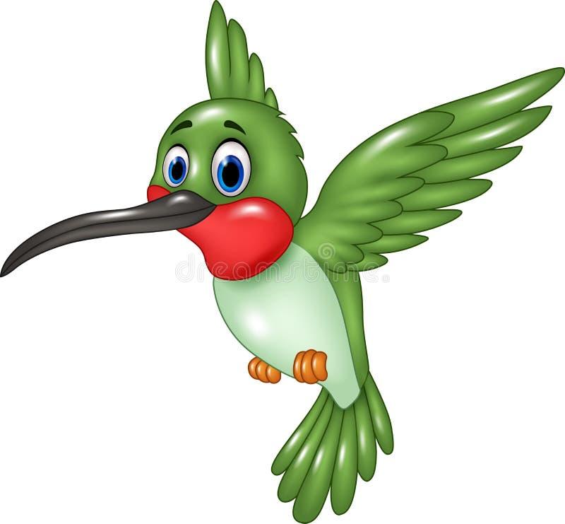 Vol drôle de colibri de bande dessinée sur le fond blanc illustration de vecteur