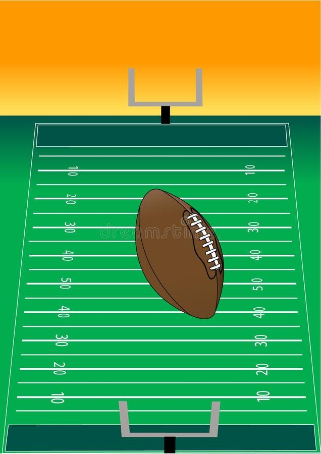 Vol du football au-dessus de zone illustration stock