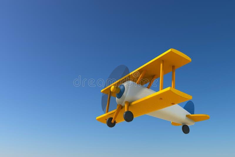 Vol en bois d'avion de jouet de vintage sur le ciel bleu de gradient illustration de vecteur
