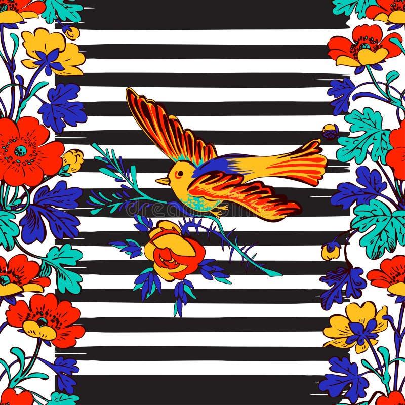 Vol exotique sans couture d'oiseau et cadre botanique de frontière avec le trop illustration de vecteur