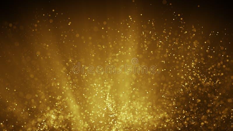 Vol féerique de la poussière dans l'illustration abstraite de rayons légers d'or illustration stock