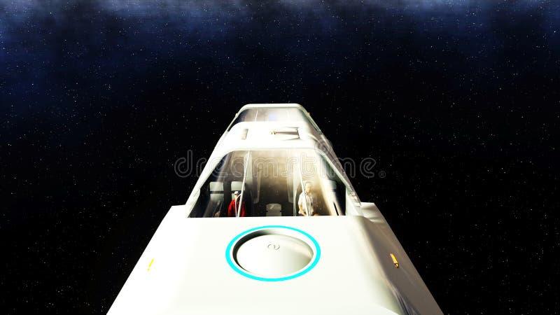 Vol futuriste d'autobus de passager dans l'espace Transport de l'avenir rendu 3d illustration de vecteur