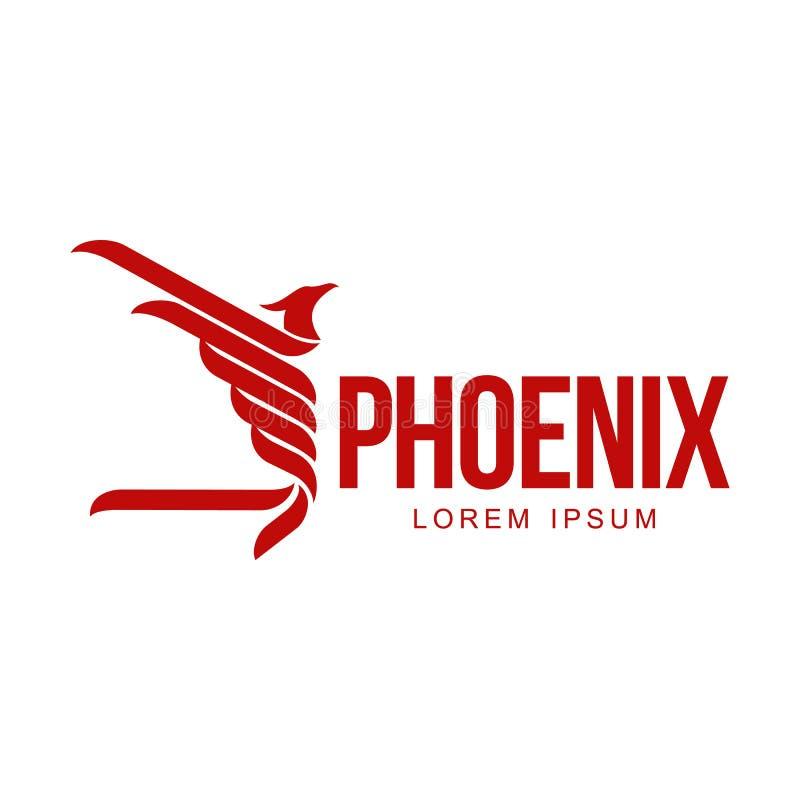 Vol graphique stylisé d'oiseau de Phoenix avec le calibre augmenté de logo d'ailes illustration libre de droits