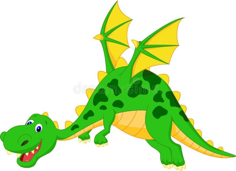 Vol heureux de bande dessinée de dragon illustration de vecteur