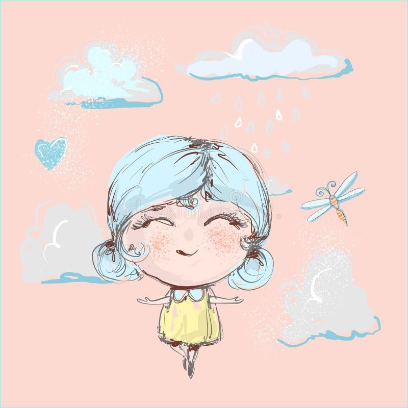 Vol heureux mignon de fille sous la pluie dans les nuages et le sourire illustration libre de droits