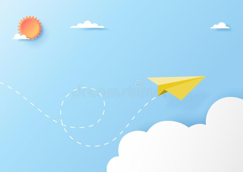 Vol jaune d'avion de papier sur le style d'art de papier de ciel bleu illustration de vecteur
