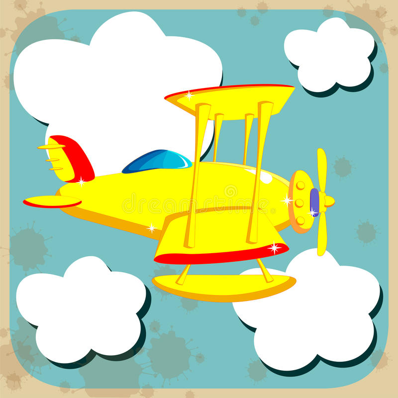 Vol jaune d'avion par le ciel avec des nuages illustration libre de droits