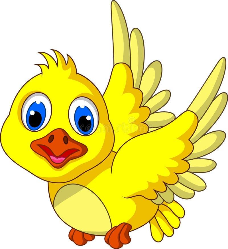 Vol jaune mignon de bande dessinée d'oiseau illustration de vecteur
