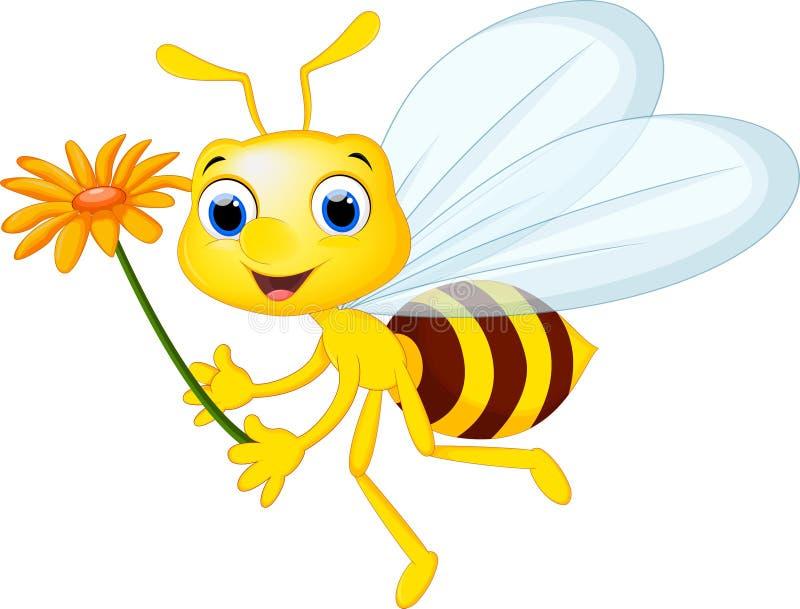 Vol mignon de bande dessinée d'abeille tout en portant fleurit illustration libre de droits