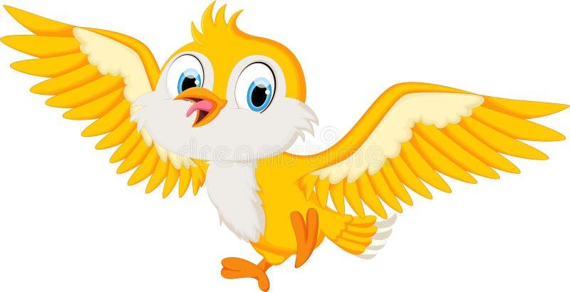 Vol mignon de bande dessinée d'oiseau illustration de vecteur