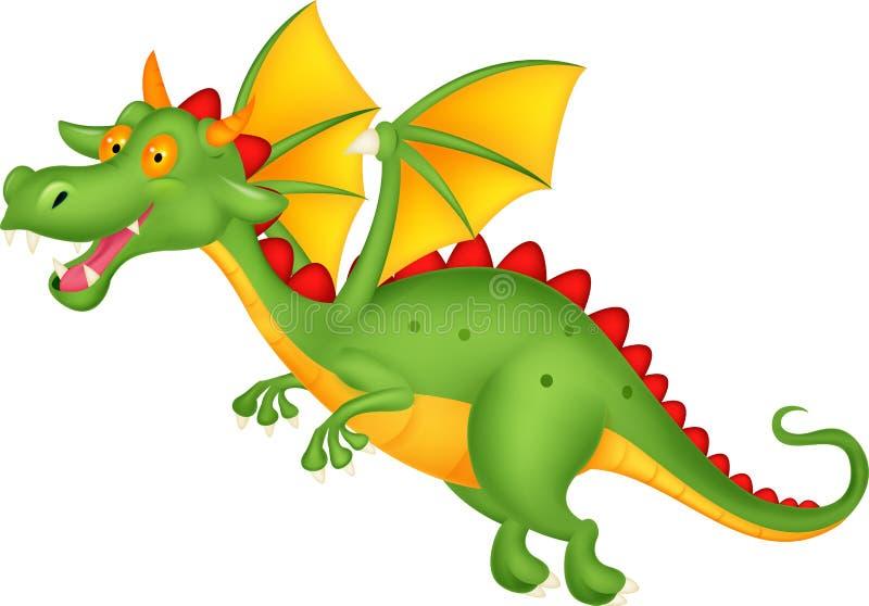 Vol mignon de bande dessinée de dragon illustration stock