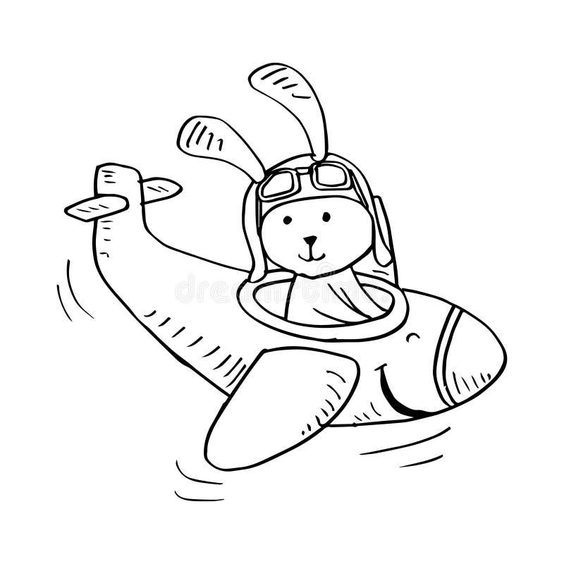Vol mignon de lapin sur un avion illustration de vecteur