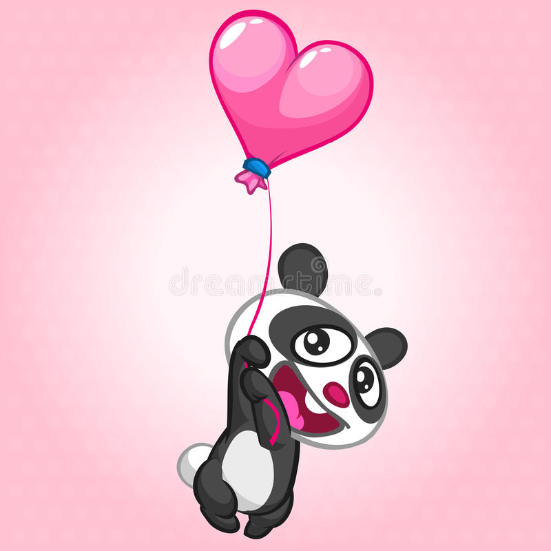 Vol mignon de panda sur le ballon en forme entendue Caractère de vecteur le jour de valentines de St illustration de vecteur