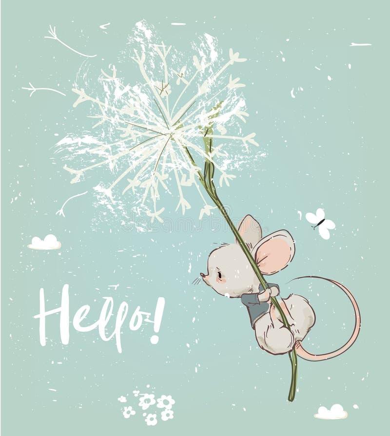 Vol mignon de souris d'anniversaire avec des fleurs illustration stock