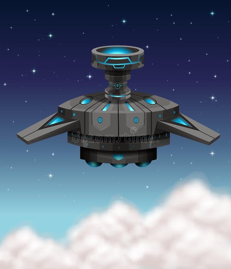 Vol noir de vaisseau spatial la nuit illustration libre de droits