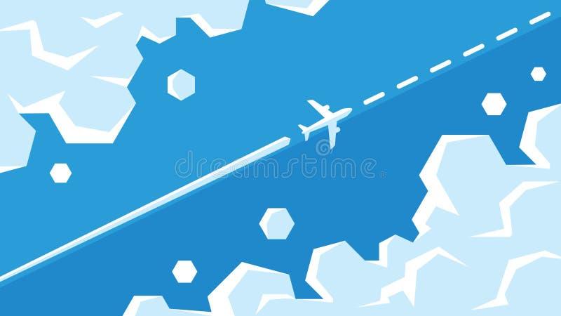 Vol plat entre l'illustration de vecteur de nuages L'avion vole dans le ciel sur l'itinéraire illustration de vecteur