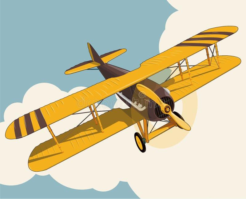Vol plat jaune au-dessus de ciel avec des nuages dans le stylization de couleur de vintage illustration stock