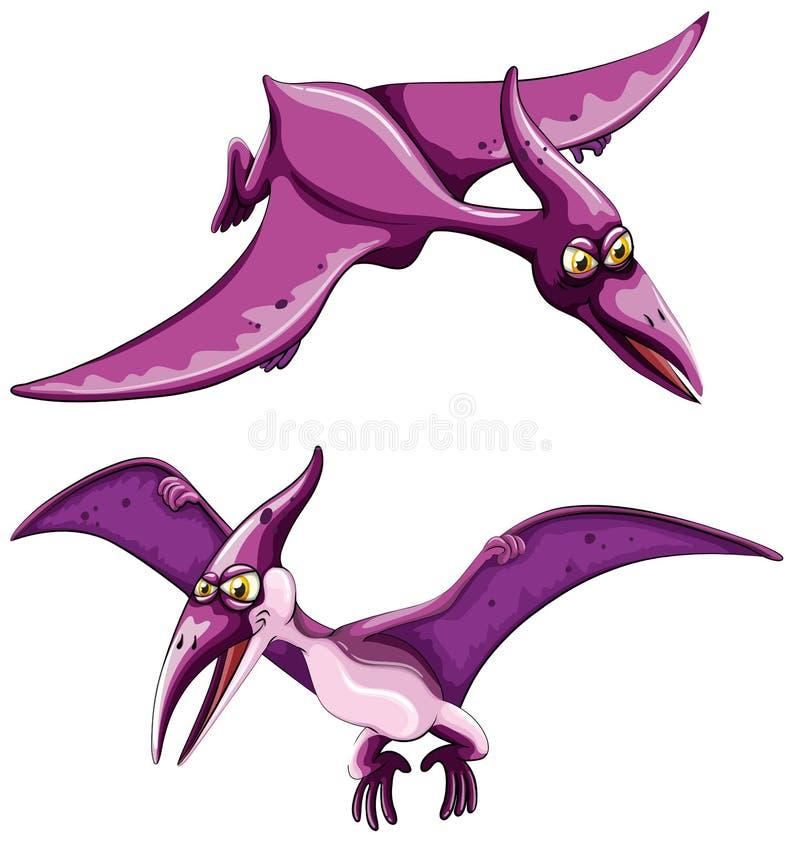 Vol pourpre de pterosaur dans le ciel illustration de vecteur