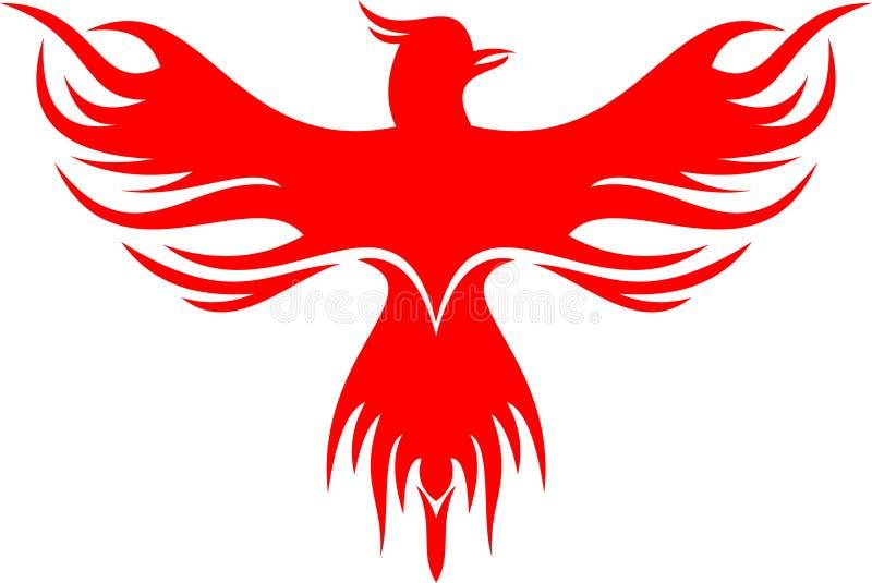 Vol rouge d'oiseau de Phoenix de logo courant illustration libre de droits